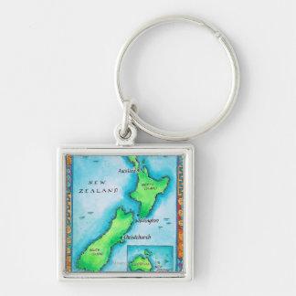 Mapa de Nueva Zelanda 2 Llavero Cuadrado Plateado
