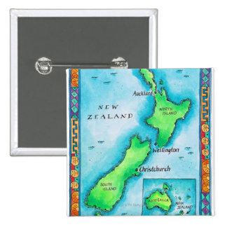 Mapa de Nueva Zelanda 2 Pin Cuadrada 5 Cm