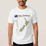 Mapa de Nueva Zelanda + Bandera + Camiseta del tít Playera