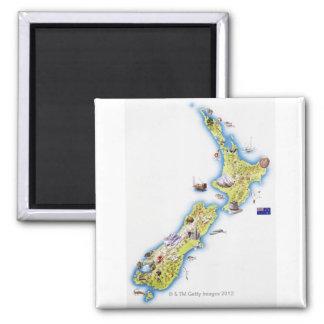 Mapa de Nueva Zelanda Imán Cuadrado