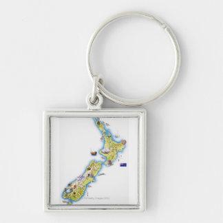 Mapa de Nueva Zelanda Llavero Cuadrado Plateado