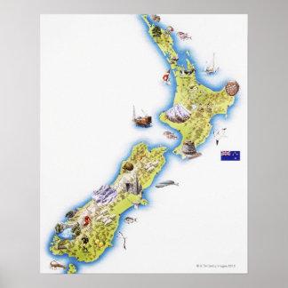 Mapa de Nueva Zelanda Impresiones