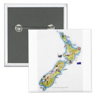 Mapa de Nueva Zelanda Pin Cuadrada 5 Cm