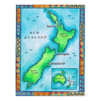 Mapa de Nueva Zelanda Postales