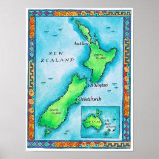 Mapa de Nueva Zelanda Póster
