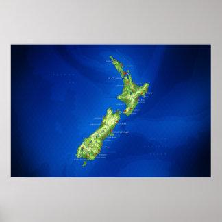 Mapa de Nueva Zelanda Poster