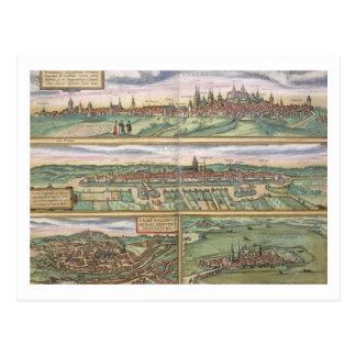 Mapa de Nuremberg, de Ulm, y de Saltzburg, de Postales