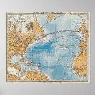Mapa de Océano Atlántico del norte Posters