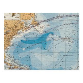 Mapa de Océano Atlántico del norte Tarjetas Postales