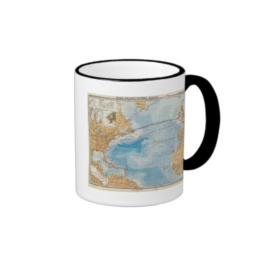Mapa de Océano Atlántico del norte Taza De Café