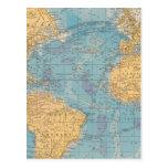 Mapa de Océano Atlántico Tarjeta Postal