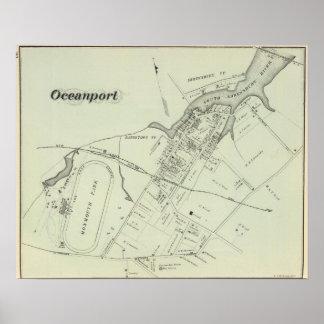 Mapa de Oceanport, NJ Póster