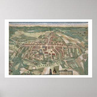"Mapa de Odense, de ""Civitates Orbis Terrarum"" cerc Impresiones"