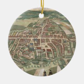 "Mapa de Odense, de ""Civitates Orbis Terrarum"" Adorno Redondo De Cerámica"