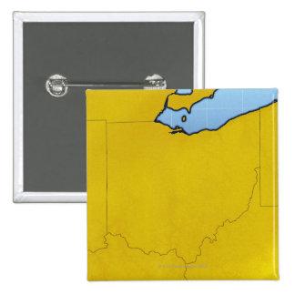 Mapa de Ohio 2 Pin Cuadrado