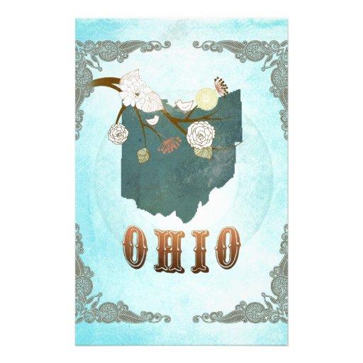 Mapa de Ohio con los pájaros preciosos Papeleria