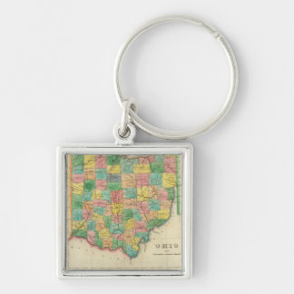 Mapa de Ohio Llavero Cuadrado Plateado