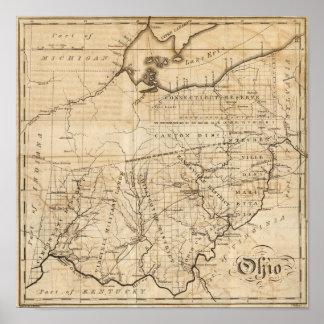 Mapa de Ohio Póster