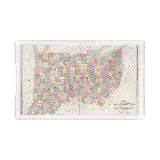 Mapa de Ohio y de Indiana Bandeja Rectangular