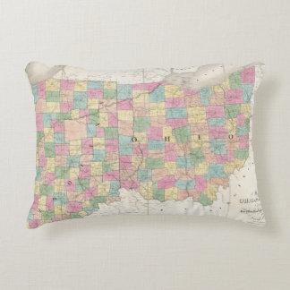 Mapa de Ohio y de Indiana Cojín Decorativo