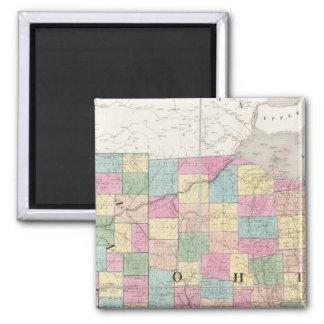 Mapa de Ohio y de Indiana Imán Cuadrado
