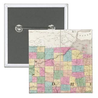 Mapa de Ohio y de Indiana Pin Cuadrado