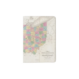 Mapa de Ohio y de Indiana Porta Pasaporte