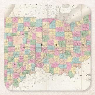 Mapa de Ohio y de Indiana Posavasos Desechable Cuadrado
