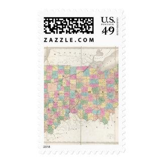 Mapa de Ohio y de Indiana Sellos Postales