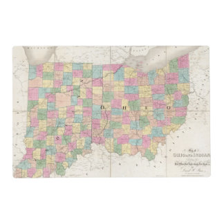 Mapa de Ohio y de Indiana Tapete Individual