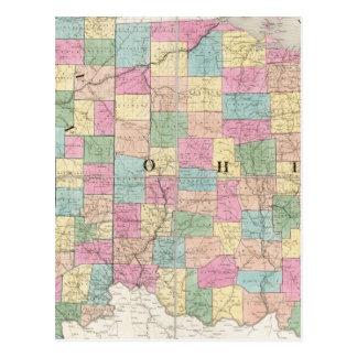 Mapa de Ohio y de Indiana Tarjeta Postal