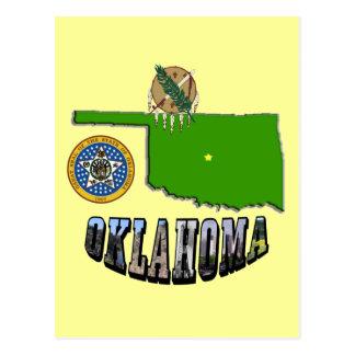 Mapa de Oklahoma, sello y texto de la imagen Postales