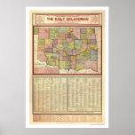 Mapa de Oklahoma y del territorio indio 1905 Impresiones