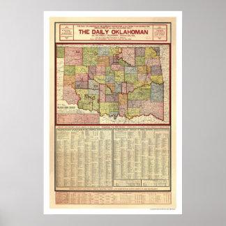Mapa de Oklahoma y del territorio indio 1905 Póster