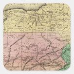 Mapa de Olney de los estados del centro Calcomania Cuadradas