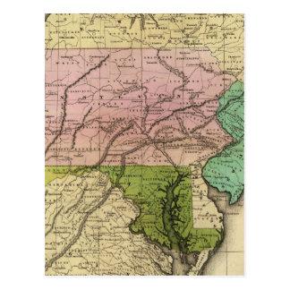 Mapa de Olney de los estados del centro Postales