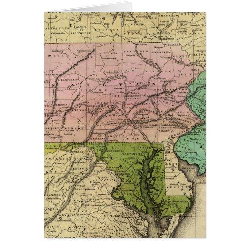 Mapa de Olney de los estados del centro Tarjetas