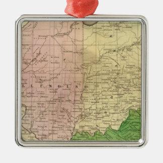 Mapa de Olney de los Estados Occidentales Adorno Navideño Cuadrado De Metal