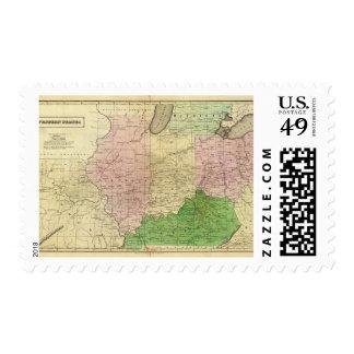 Mapa de Olney de los Estados Occidentales Estampilla