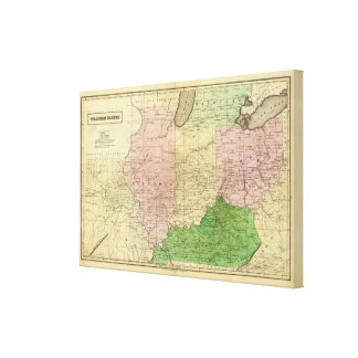 Mapa de Olney de los Estados Occidentales Lienzo Envuelto Para Galerías