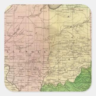 Mapa de Olney de los Estados Occidentales Pegatina Cuadrada