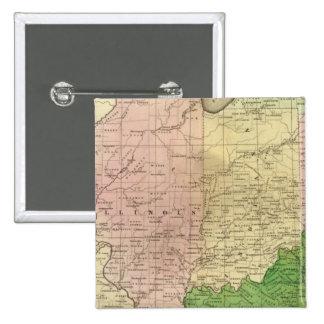 Mapa de Olney de los Estados Occidentales Pin Cuadrado