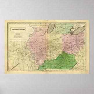 Mapa de Olney de los Estados Occidentales Póster