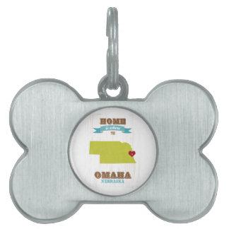 Mapa de Omaha, Nebraska - casero es donde está el  Placas De Mascota