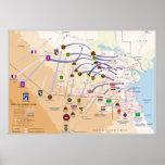 Mapa de operaciones de tierra de la tormenta de de poster