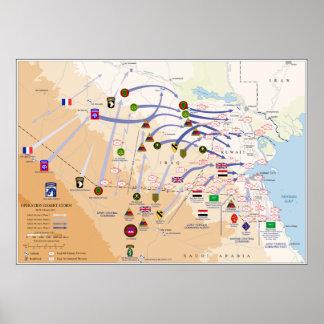 Mapa de operaciones de tierra de la tormenta de póster