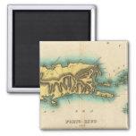 Mapa de Oporto Rico y las Islas Vírgenes Iman Para Frigorífico