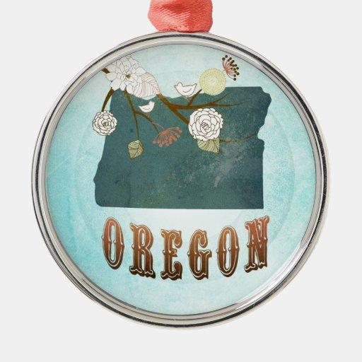 Mapa de Oregon con los pájaros preciosos Adorno Redondo Plateado