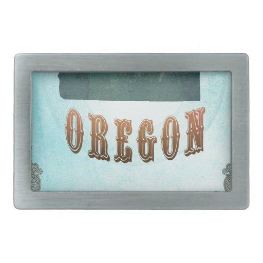 Mapa de Oregon con los pájaros preciosos Hebilla De Cinturon Rectangular
