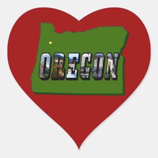 Mapa de Oregon y texto de la imagen Pegatina En Forma De Corazón